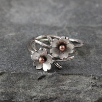 Cherry Blossom Branch Adjustable Ring in Silver, Spring Stacking rings, Spring Jewelry, MADE to ORDER, Twig ring, Bridal accessories