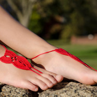 Crochet Red Barefoot Sandals, Nude shoes, Foot jewelry, Wedding, Victorian Lace , Steampunk, Beach Pool, Bellydance in Red color