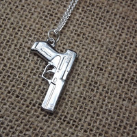 Silver Pistol Necklace- Bullet Jewelry- unisex gun necklace - pistol necklace, bullet pendant charm, country redneck