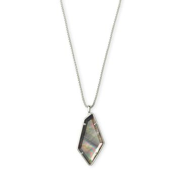 Kendra Scott - Lilith Bright Silver Long Pendant Necklace in Black Mother of Pearl
