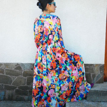 Handmade Long Dress / Multicolored Dress/ Abaya Dress /Floral Dress / Maxi Caftan /Loose Casual Dress/ Party Dress by moShic D009