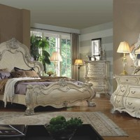5 pc york ii collection antique white wood finish with intricate carved headboard bedroom set with marble tops
