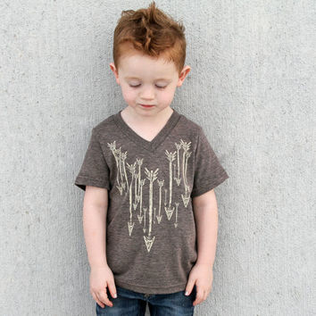 Kids V Neck - hand screenprinted ARROW shirt - Tri-Blend American Apparel