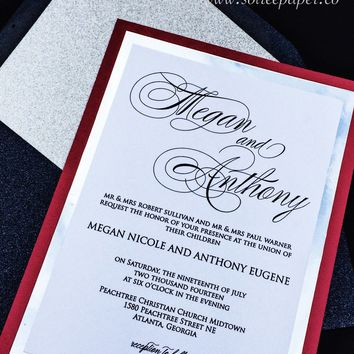 Modern Wedding Invitation - Silver Foil and Glitter Wedding Invitation - MEGAN VERSION