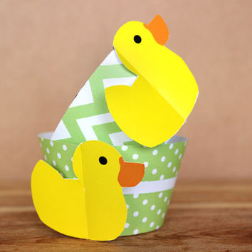 Mint Green Rubber Duck 3D Cupcake Wrappers - DIY printable party supplies – duckie wraps for baby showers or birthdays - INSTANT DOWNLOAD