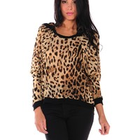 Lucca Couture Leopard Hoodie Top