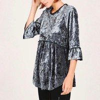 selena - crushed velvet babydoll quarter sleeve top - more colors
