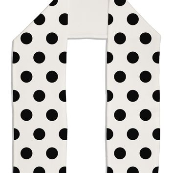 "Black Polka Dots on White Adult Fleece 64"" Scarf All Over Print by TooLoud"