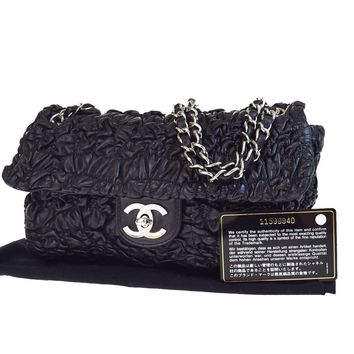 Authentic CHANEL CC Logos Chain Shoulder Bag Leather Black Silver Italy 680V2932