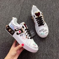 D&G Dolce & Gabbana Women Leather Fashion Casual Running Sneakers Shoes
