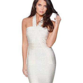 White Halter Neckline Bodycon Midi Dress