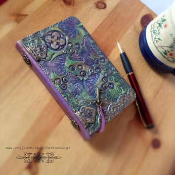Butterflies pocketbook journal, functional art, one of a kind gifts, polymer clay journal, Steampunk journal, handmade gifts, blank book
