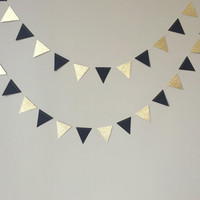 50th Birthday Decoration, Black and Gold Glitter Triangle Garland, Wedding, Birthday, Graduation, Paper Garland, Black and Gold Decor