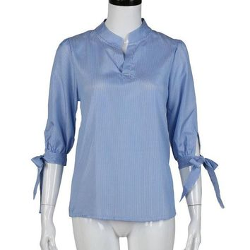 Korean Fashion Clothing Ladies Blouse Blue Striped Office Ladies Blouse Bow V-Neck Loose Women Clothes Roupa Feminina#C930
