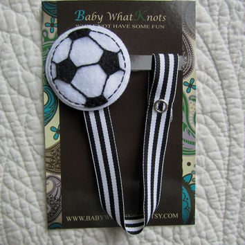 Baby Boy Pacifier Clip, Soccer Pacifier Clip, Ball Sports Pacifier Holder, pcsports03