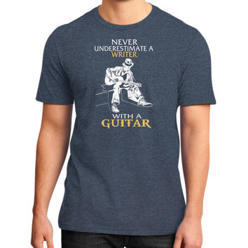NEVER UNDERESTIMATE A WRITER GUITAR District T-Shirt (on man)