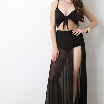 Kotted Front-Tie Semi-Sheer Maxi Dress