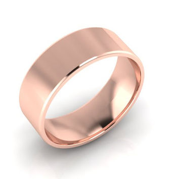 Wedding Band, Solid Gold Wedding Band, 7.50mm 14K Rose Gold Band, Hand Made Wedding Band, Free Engraving and Shipping, 7.50mm
