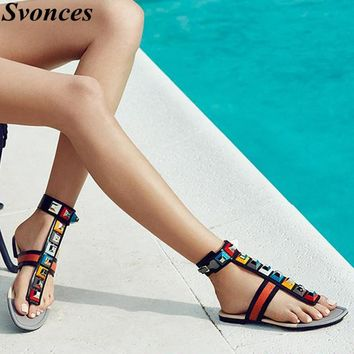 Svonces Brand Designer Embellished Leather Thong Sandals Multicolor Studded Ankle-Wrap Flat Gladiator Sandals Flip Flops Women