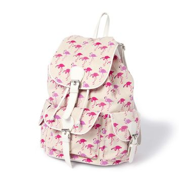 Boulder Canvas Backpack with Pink Flamingo Print  | Icing