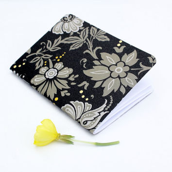 Textured Black Taupe Yellow Floral Flowers Traveler's Notebook Journal Stationary Planner Insert Blank Pages Sketchbook