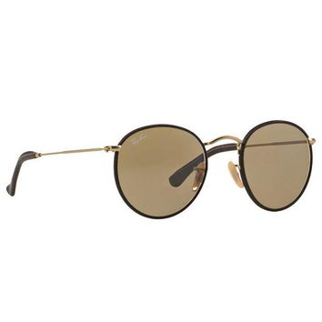 Kalete Ray Ban RB3475Q 112/53 Round Craft Sunglasses Brown Gold Brown Classic Lens 50mm