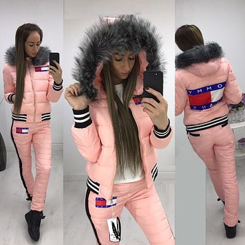 Tommy Hilfiger 2017 Winter Fashion Women Hoodie Top Sweater Trousers Two-Piece Down jacket