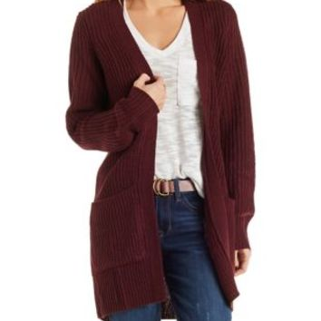 Red Shaker Stitch Cardigan Sweater by Charlotte Russe