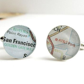 San Francisco Giants World Series Champions 2010 Baseball Map Sterling Silver Cufflinks