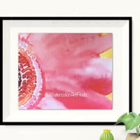 Flower Print, Watercolor flowers, original painting. Bright pink floral, simple flower close up. Dramatic Bold Statement Art