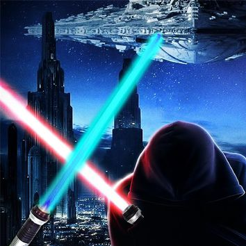2PCS Colorful Star Battle Wars Light Sword Double Lightsaber Props with Sound Light Saber Glowing Toy Sword Children Kids Gifts