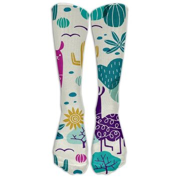 Llama In The Sun Novelty Cotton Knee High All-Over Printed Socks