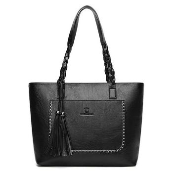 Large Leather Shoulder Casual Tote Handbags