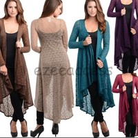 Sexy Womens Long Sleeve Cardigan Sweater Sheer Mesh Duster Coat Cover Up S,M,L