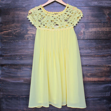 yellow floral crochet lace cap sleeve summer dress