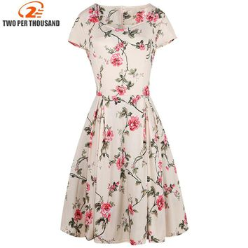 Women Retro Dress 50s 60s Vintage Rockabilly Swing Flowers Print Pattern Vestidos 1950s Elegant Restore Ancient Party Dresses