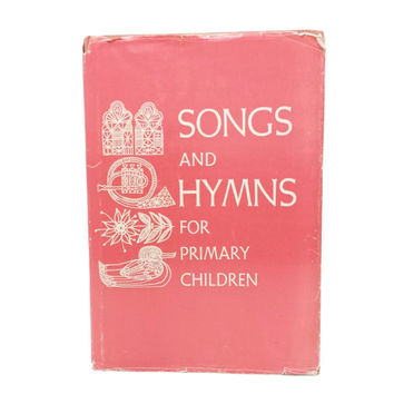 Songs and Hymns For Primary Children, Vintage Kids Hymnal Book, Religious Christian Songs, Sheet Music, Pink Book, Folk Art Illustrations