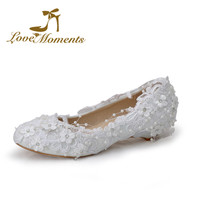 2016  sweet lace flowers unique wedding shoes white bridal pumps for women wedges handmade  pearl beading  large size40-44