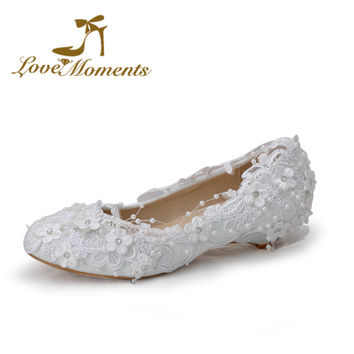 Love Moment sweet lace flowers unique wedding shoes white bridal 9d62d4feb