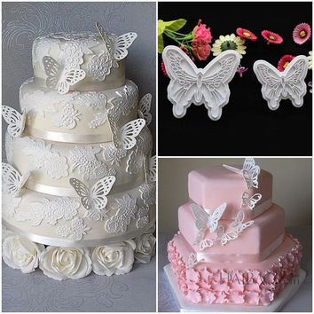 2pcs/Set Butterfly Cookie Plunger Cutters Mold Cake Fondant Decorating mold Dough Ice Pastry Slicer Baking Tools