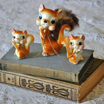 Vintage Squirrels Figurine by CollectiveHeart on Etsy