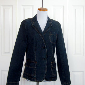 Vintage Denim Blazer Izod Denim Jacket Womens Size Medium Long Jean Blazer Stretch Denim Preppy Jacket
