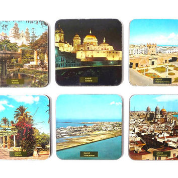 "Six Glass Coasters - Cadiz Images - Spain - Plywood covered with ""Postcard"" Paper"