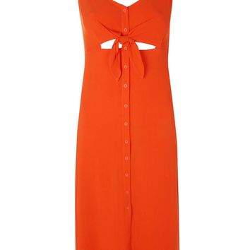 Knot Front Midi Slip Dress