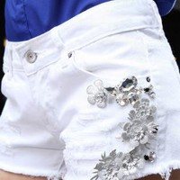 Flower White Denim Shorts for Women