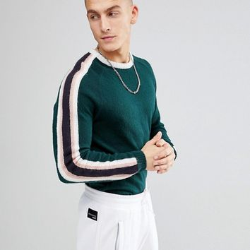 ASOS Fluffy Jumper With Contrast Stripes In Green at asos.com