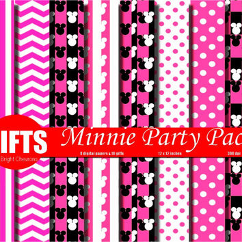 Minnie Party Digital Paper Backgrounds Printable Birthday Scrapbook Crafts labels invitations cards Supplies paper sheets vector Graphic DIY