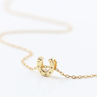 Tiny gold lucky horseshoe charm - 14k gold filled necklace - simple everyday jewelry