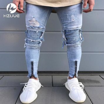 patchwork jeans motorcycle pencil skinny jeans