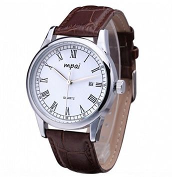 Men's Classic Business Genuine Leather Band Strap Calendar Watch Brown